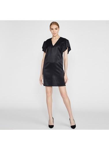 Vekem-Limited Edition V Yaka Kolda Volan Detaylı Midi Elbise Siyah